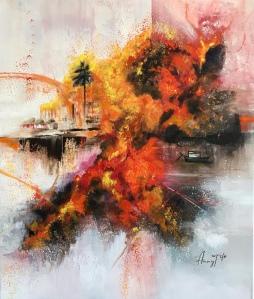 Dragon rouge dans une scène semi-apocalyptique